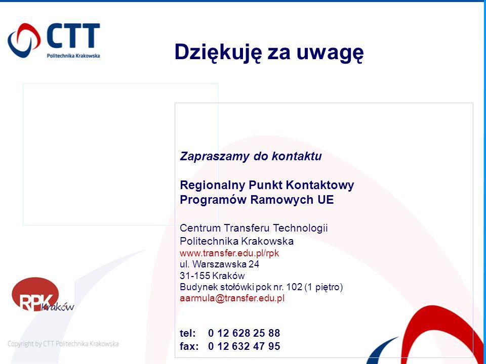 Zapraszamy do kontaktu Regionalny Punkt Kontaktowy Programów Ramowych UE Centrum Transferu Technologii Politechnika Krakowska www.transfer.edu.pl/rpk