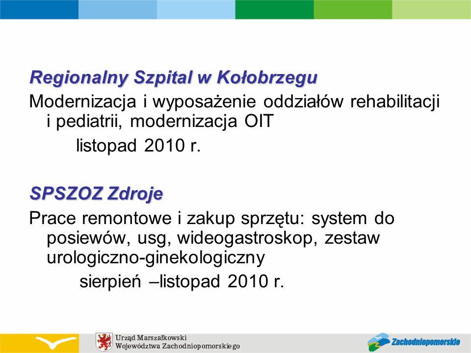 Regionalny Szpital w Kołobrzegu Modernizacja i wyposażenie oddziałów rehabilitacji i pediatrii, modernizacja OIT listopad 2010 r. SPSZOZ Zdroje Prace