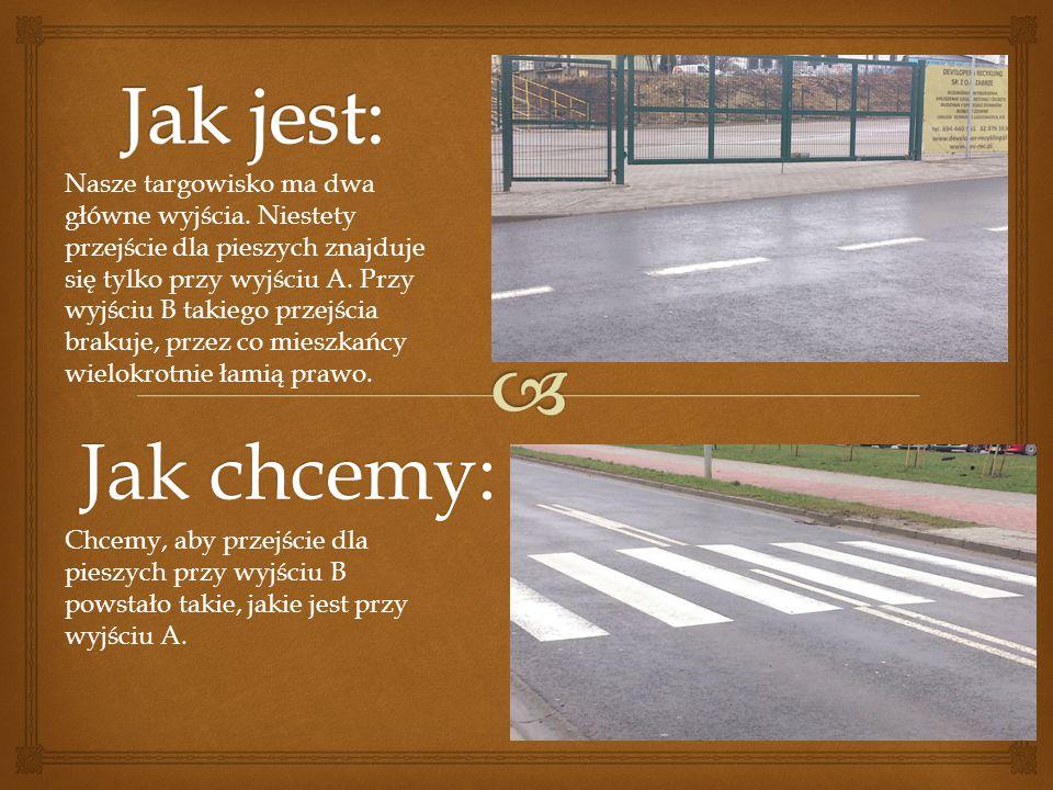 Jak chcemy: Nasze targowisko ma dwa główne wyjścia. Niestety przejście dla pieszych znajduje się tylko przy wyjściu A. Przy wyjściu B takiego przejści