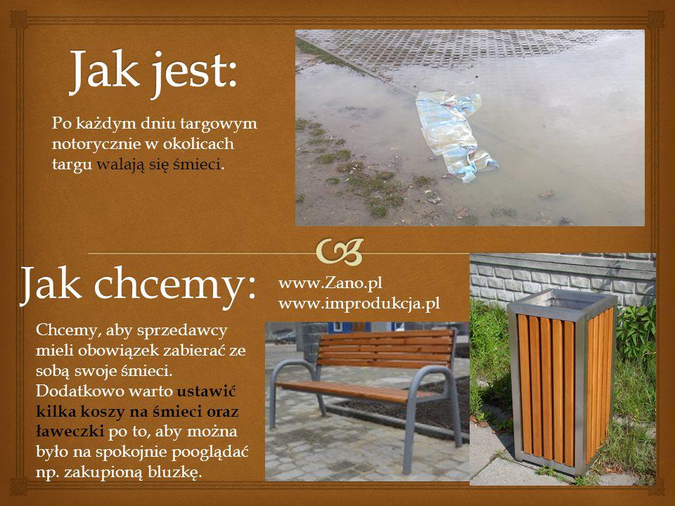 Jak chcemy: www.Zano.pl www.improdukcja.pl Po każdym dniu targowym notorycznie w okolicach targu walają się śmieci. Chcemy, aby sprzedawcy mieli obowi