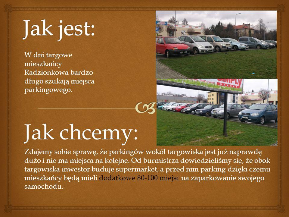 Jak chcemy: W dni targowe mieszkańcy Radzionkowa bardzo długo szukają miejsca parkingowego. Zdajemy sobie sprawę, że parkingów wokół targowiska jest j