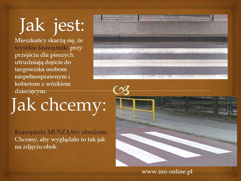 Jak chcemy: www.ino-online.pl Mieszkańcy skarżą się, że wysokie krawężniki przy przejściu dla pieszych utrudniają dojście do targowiska osobom niepełnosprawnym i kobietom z wózkiem dziecięcym.