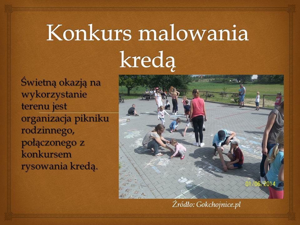 Źródło: Gokchojnice.pl Świetną okazją na wykorzystanie terenu jest organizacja pikniku rodzinnego, połączonego z konkursem rysowania kredą.