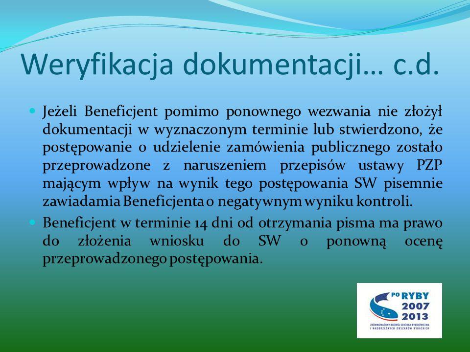 Weryfikacja dokumentacji… c.d.