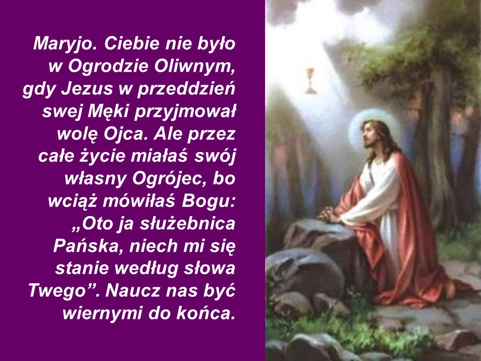 Maryjo.Ciebie nie było w Ogrodzie Oliwnym, gdy Jezus w przeddzień swej Męki przyjmował wolę Ojca.