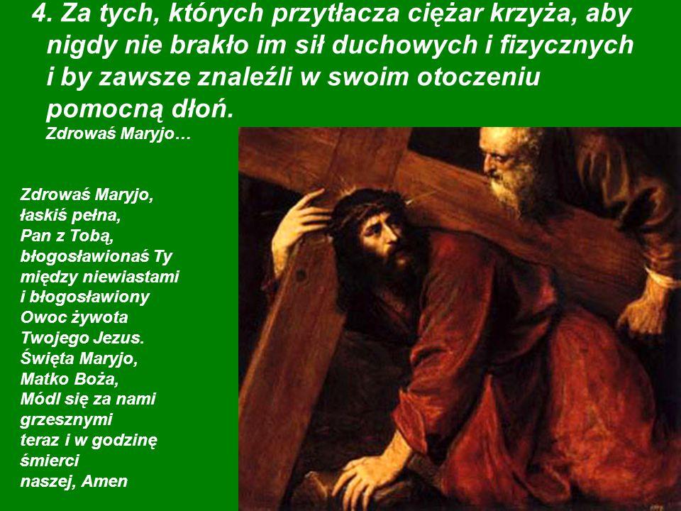 Zdrowaś Maryjo, łaskiś pełna, Pan z Tobą, błogosławionaś Ty między niewiastami i błogosławiony Owoc żywota Twojego Jezus.