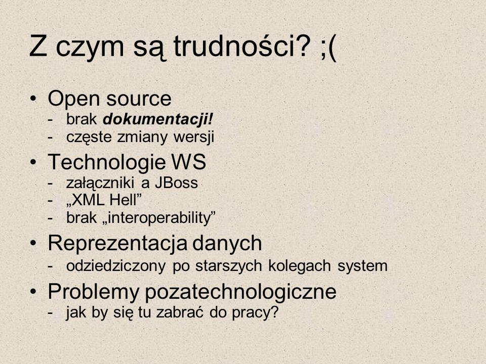 """Z czym są trudności? ;( Open source - brak dokumentacji! - częste zmiany wersji Technologie WS - załączniki a JBoss - """"XML Hell"""" - brak """"interoperabil"""