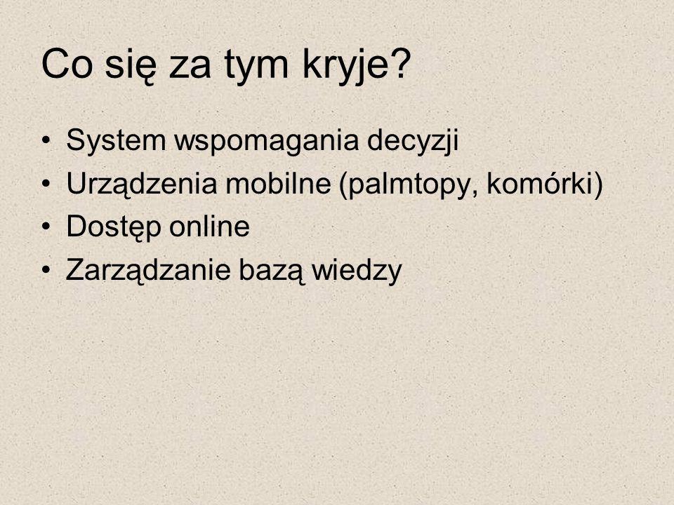 Co się za tym kryje? System wspomagania decyzji Urządzenia mobilne (palmtopy, komórki) Dostęp online Zarządzanie bazą wiedzy