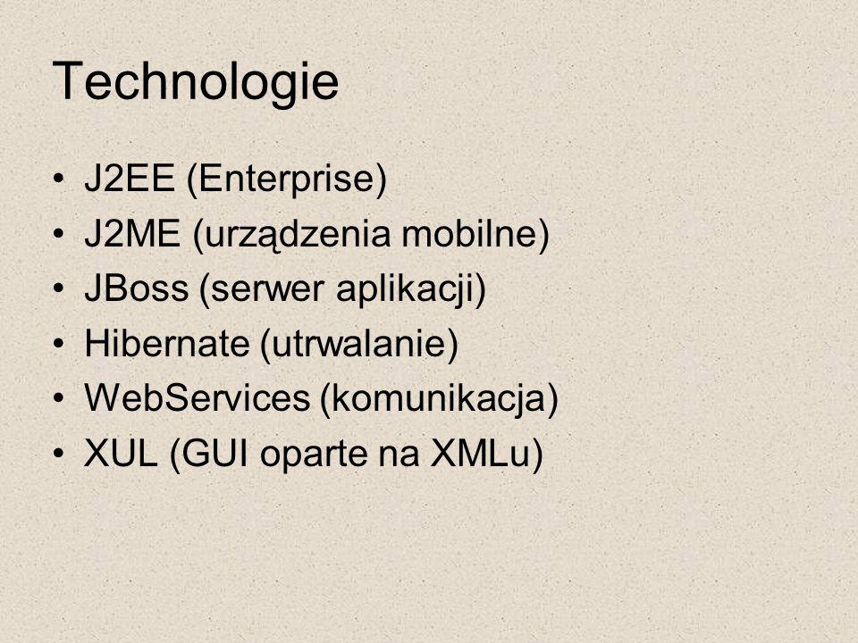 Technologie J2EE (Enterprise) J2ME (urządzenia mobilne) JBoss (serwer aplikacji) Hibernate (utrwalanie) WebServices (komunikacja) XUL (GUI oparte na X