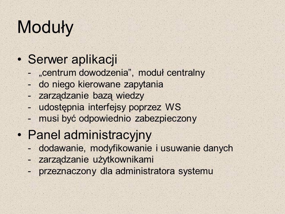 """Moduły Serwer aplikacji - """"centrum dowodzenia"""", moduł centralny - do niego kierowane zapytania - zarządzanie bazą wiedzy - udostępnia interfejsy poprz"""