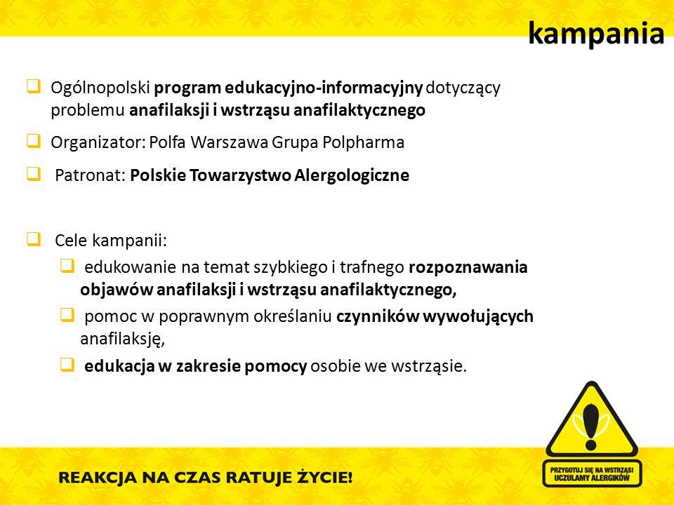  Ogólnopolski program edukacyjno-informacyjny dotyczący problemu anafilaksji i wstrząsu anafilaktycznego  Organizator: Polfa Warszawa Grupa Polpharm
