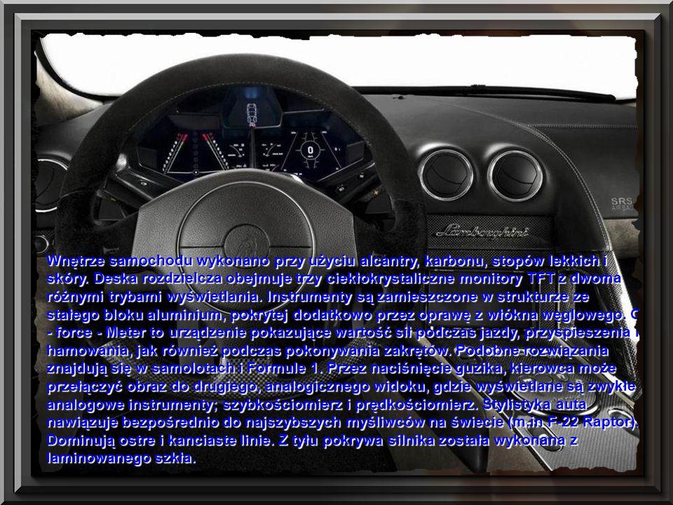 Lamborghini podczas projektowania auta inspirowało się kształtami samolotów odrzutowych. Według oficjalnych informacji koncernu, wszystkie panele nadw