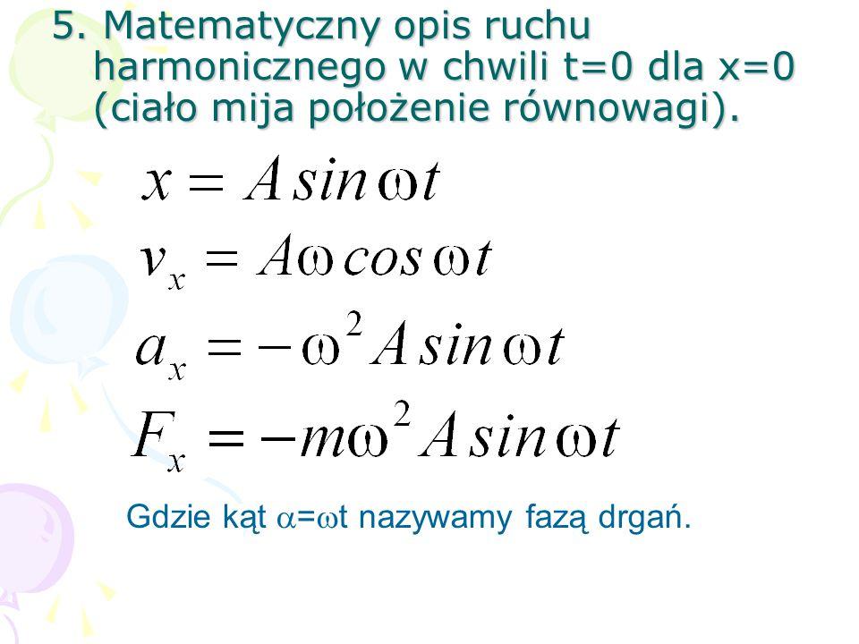 5.Matematyczny opis ruchu harmonicznego w chwili t=0 dla x=0 (ciało mija położenie równowagi).