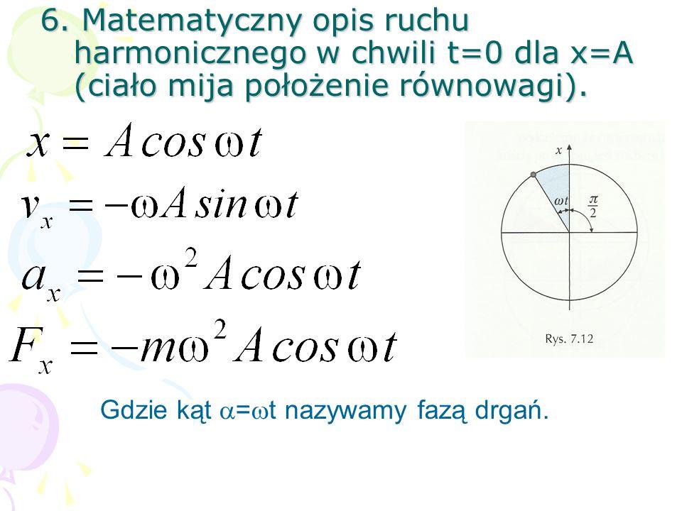 6.Matematyczny opis ruchu harmonicznego w chwili t=0 dla x=A (ciało mija położenie równowagi).