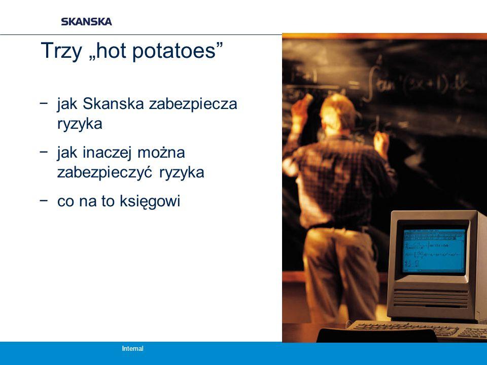 """Internal Trzy """"hot potatoes −jak Skanska zabezpiecza ryzyka −jak inaczej można zabezpieczyć ryzyka −co na to księgowi"""
