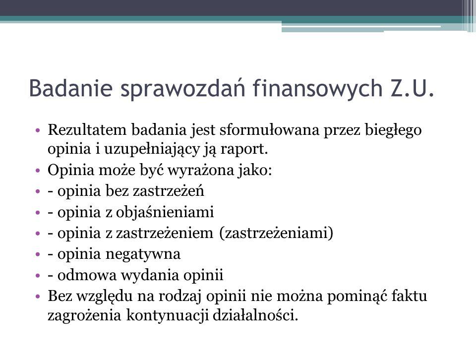 Badanie sprawozdań finansowych Z.U.