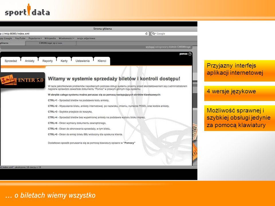 Przyjazny interfejs aplikacji internetowej 4 wersje językowe Możliwość sprawnej i szybkiej obsługi jedynie za pomocą klawiatury