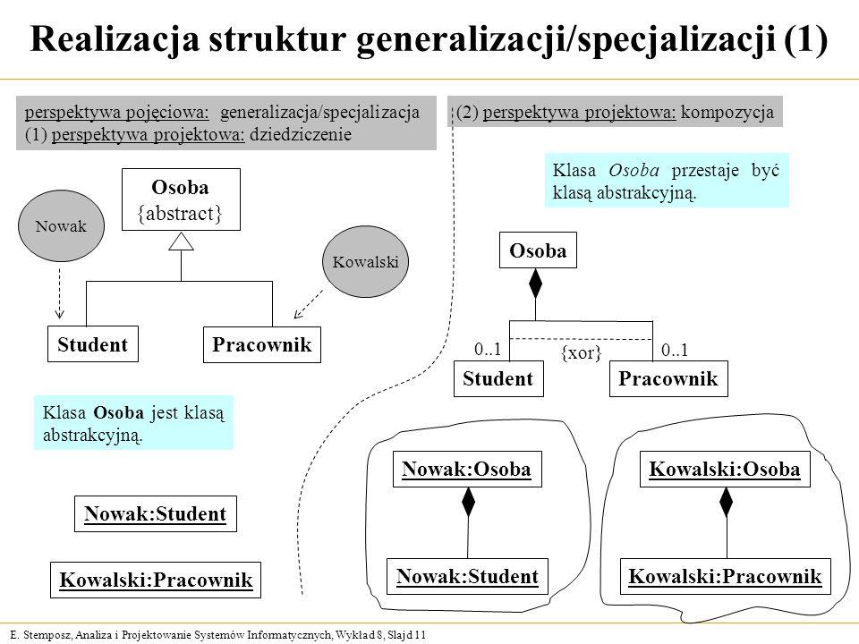 E. Stemposz, Analiza i Projektowanie Systemów Informatycznych, Wykład 8, Slajd 11 Realizacja struktur generalizacji/specjalizacji (1) Osoba {abstract}