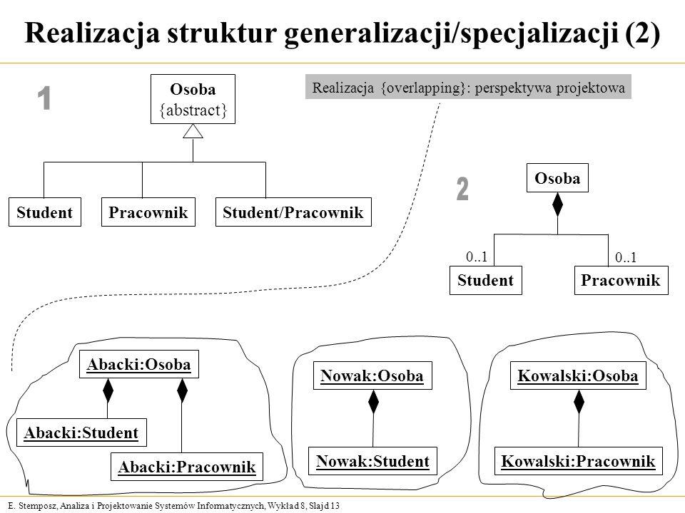 E. Stemposz, Analiza i Projektowanie Systemów Informatycznych, Wykład 8, Slajd 13 Realizacja struktur generalizacji/specjalizacji (2) Osoba StudentPra