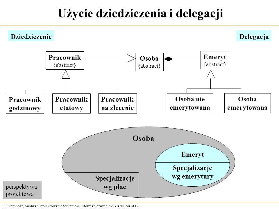E. Stemposz, Analiza i Projektowanie Systemów Informatycznych, Wykład 8, Slajd 17 Użycie dziedziczenia i delegacji DziedziczenieDelegacja Osoba Emeryt