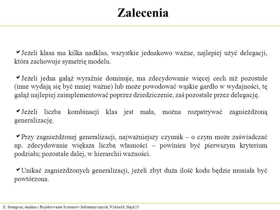 E. Stemposz, Analiza i Projektowanie Systemów Informatycznych, Wykład 8, Slajd 20 Zalecenia  Jeżeli klasa ma kilka nadklas, wszystkie jednakowo ważne