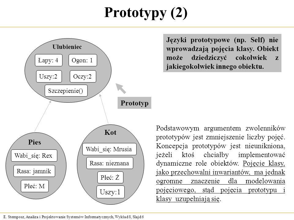 E. Stemposz, Analiza i Projektowanie Systemów Informatycznych, Wykład 8, Slajd 6 Prototypy (2) Podstawowym argumentem zwolenników prototypów jest zmni