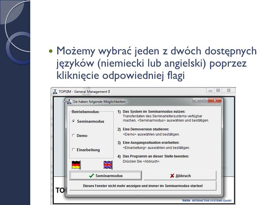 Możemy wybrać jeden z dwóch dostępnych języków (niemiecki lub angielski) poprzez kliknięcie odpowiedniej flagi
