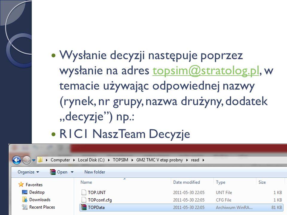 """Wysłanie decyzji następuje poprzez wysłanie na adres topsim@stratolog.pl, w temacie używając odpowiednej nazwy (rynek, nr grupy, nazwa drużyny, dodatek """"decyzje ) np.:topsim@stratolog.pl R1C1 NaszTeam Decyzje"""