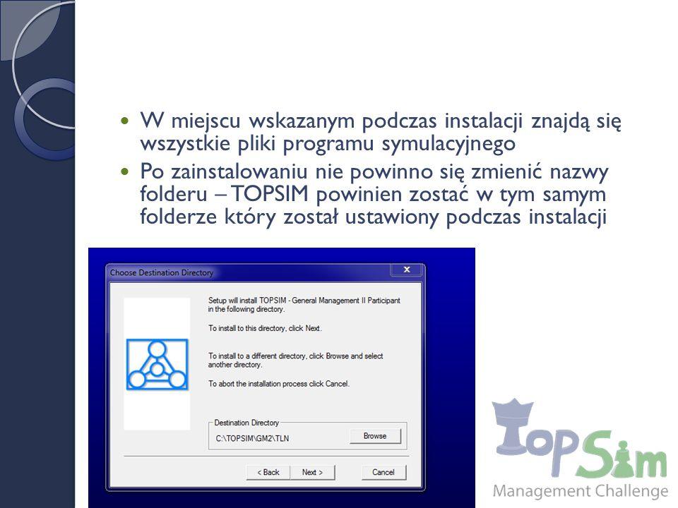 W miejscu wskazanym podczas instalacji znajdą się wszystkie pliki programu symulacyjnego Po zainstalowaniu nie powinno się zmienić nazwy folderu – TOPSIM powinien zostać w tym samym folderze który został ustawiony podczas instalacji