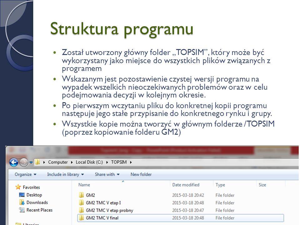"""Struktura programu Został utworzony główny folder """"TOPSIM , który może być wykorzystany jako miejsce do wszystkich plików związanych z programem Wskazanym jest pozostawienie czystej wersji programu na wypadek wszelkich nieoczekiwanych problemów oraz w celu podejmowania decyzji w kolejnym okresie."""