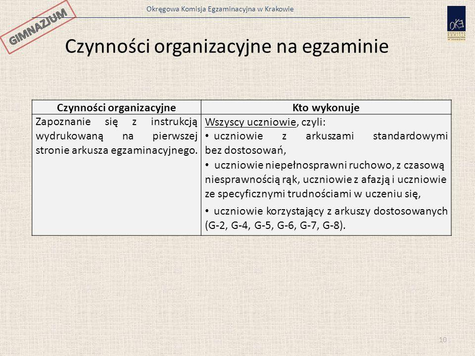 Okręgowa Komisja Egzaminacyjna w Krakowie 10 Czynności organizacyjne na egzaminie Czynności organizacyjneKto wykonuje Zapoznanie się z instrukcją wydrukowaną na pierwszej stronie arkusza egzaminacyjnego.