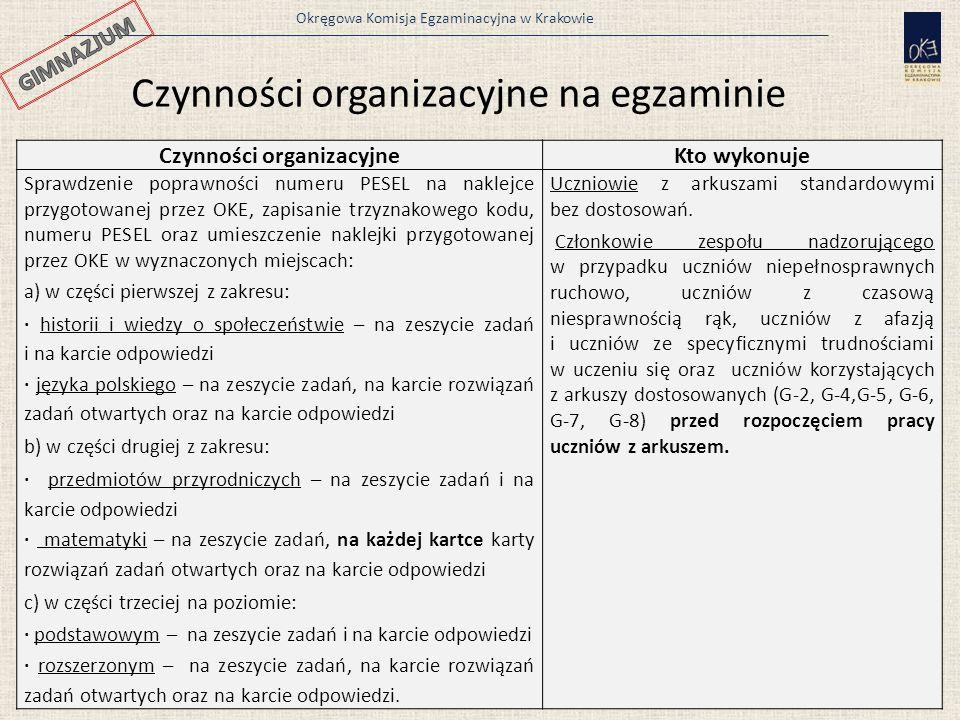 Okręgowa Komisja Egzaminacyjna w Krakowie 12 Czynności organizacyjneKto wykonuje Sprawdzenie poprawności numeru PESEL na naklejce przygotowanej przez OKE, zapisanie trzyznakowego kodu, numeru PESEL oraz umieszczenie naklejki przygotowanej przez OKE w wyznaczonych miejscach: a) w części pierwszej z zakresu: · historii i wiedzy o społeczeństwie – na zeszycie zadań i na karcie odpowiedzi · języka polskiego – na zeszycie zadań, na karcie rozwiązań zadań otwartych oraz na karcie odpowiedzi b) w części drugiej z zakresu: · przedmiotów przyrodniczych – na zeszycie zadań i na karcie odpowiedzi · matematyki – na zeszycie zadań, na każdej kartce karty rozwiązań zadań otwartych oraz na karcie odpowiedzi c) w części trzeciej na poziomie: · podstawowym – na zeszycie zadań i na karcie odpowiedzi · rozszerzonym – na zeszycie zadań, na karcie rozwiązań zadań otwartych oraz na karcie odpowiedzi.