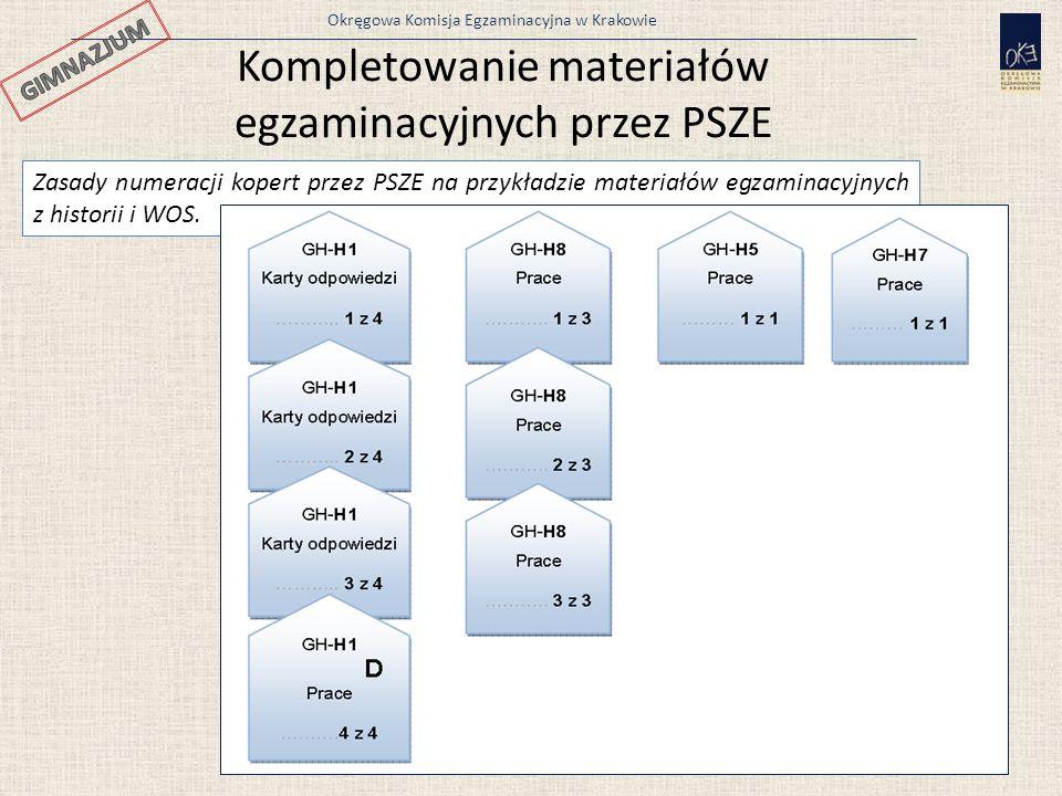 Okręgowa Komisja Egzaminacyjna w Krakowie Zasady numeracji kopert przez PSZE na przykładzie materiałów egzaminacyjnych z historii i WOS. 30 Kompletowa