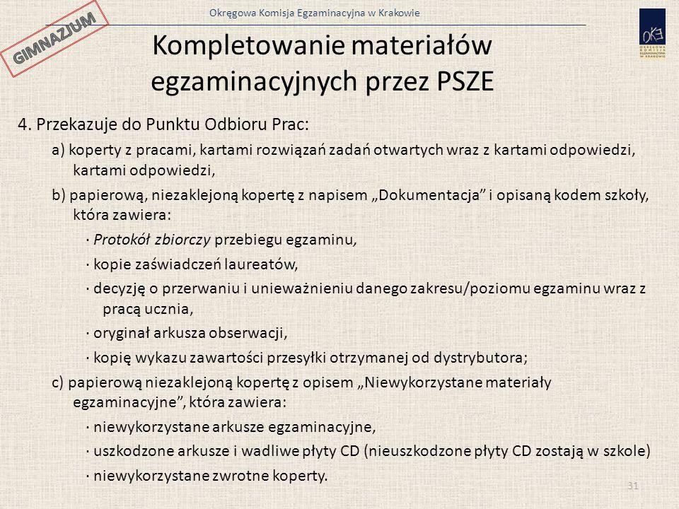 Okręgowa Komisja Egzaminacyjna w Krakowie 31 4. Przekazuje do Punktu Odbioru Prac: a) koperty z pracami, kartami rozwiązań zadań otwartych wraz z kart