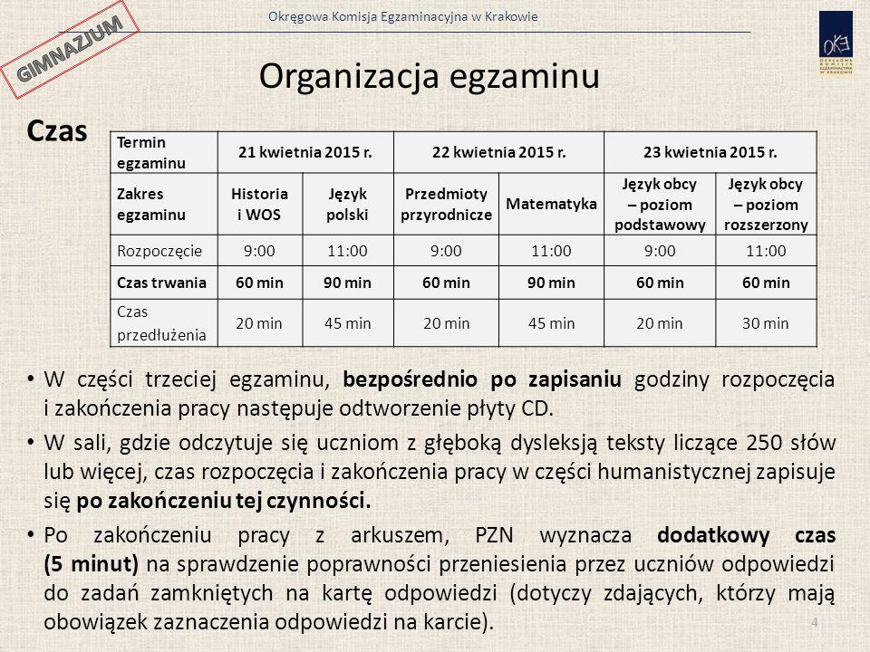 Okręgowa Komisja Egzaminacyjna w Krakowie Materiały egzaminacyjne i dokumentacja PZN bezpośrednio przed daną częścią sprawdzianu albo zakresem/poziomem egzaminu, w obecności przedstawiciela zdających, odbiera od PSZE: odpowiednią liczbę i rodzaj materiałów egzaminacyjnych, tzn.