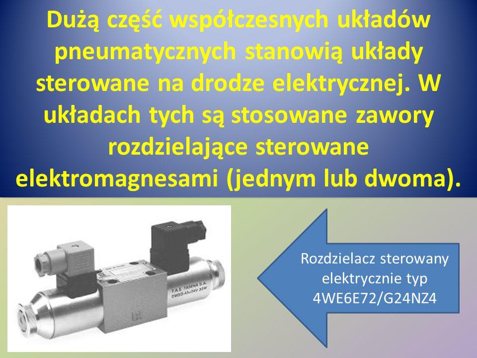 Dużą część współczesnych układów pneumatycznych stanowią układy sterowane na drodze elektrycznej. W układach tych są stosowane zawory rozdzielające st