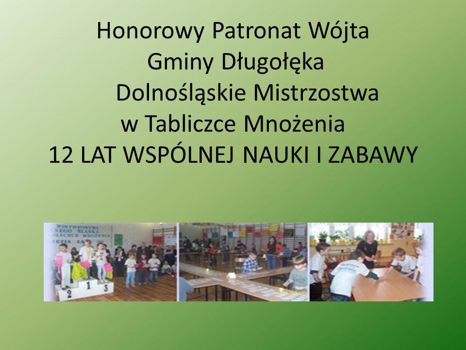 Honorowy Patronat Wójta Gminy Długołęka Dolnośląskie Mistrzostwa w Tabliczce Mnożenia 12 LAT WSPÓLNEJ NAUKI I ZABAWY