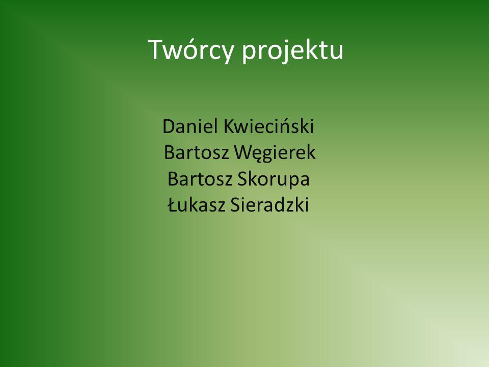 Twórcy projektu Daniel Kwieciński Bartosz Węgierek Bartosz Skorupa Łukasz Sieradzki