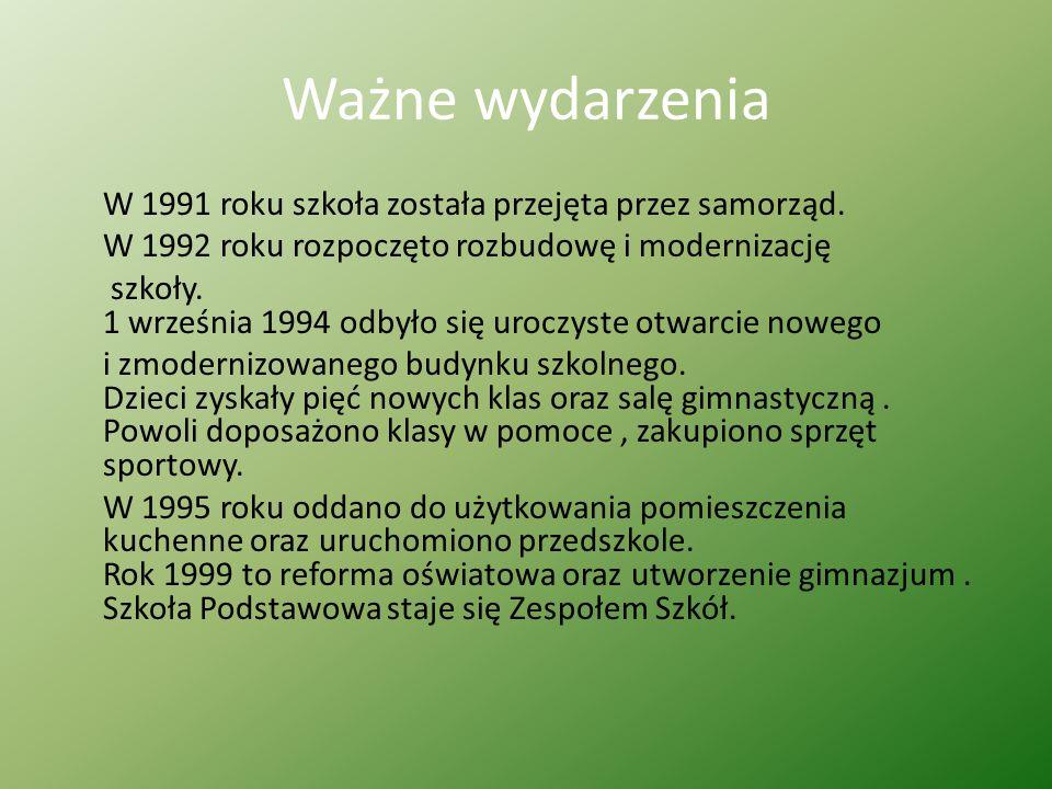 Ważne wydarzenia W 1991 roku szkoła została przejęta przez samorząd. W 1992 roku rozpoczęto rozbudowę i modernizację szkoły. 1 września 1994 odbyło si
