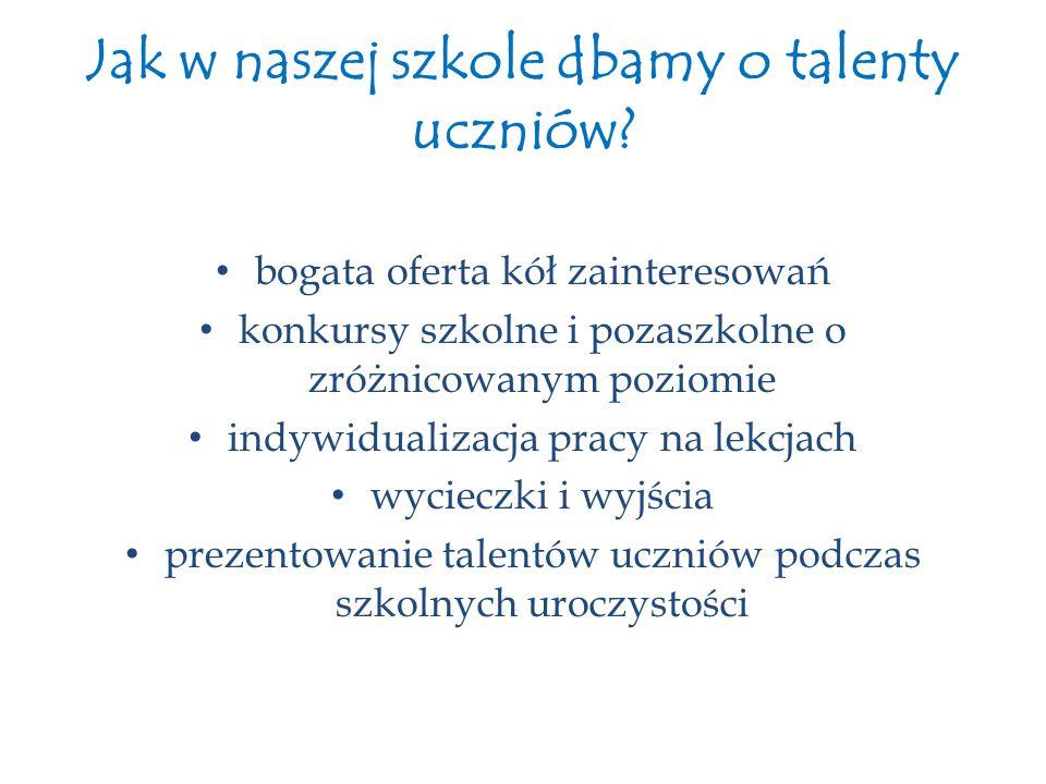 Jak w naszej szkole dbamy o talenty uczniów? bogata oferta kół zainteresowań konkursy szkolne i pozaszkolne o zróżnicowanym poziomie indywidualizacja