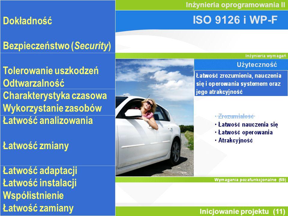 Inicjowanie projektu (11) Inżynieria oprogramowania II ISO 9126 i WP-F Odpowiedniość Dokładność Inter-operacyjność Bezpieczeństwo ( Security ) Dojrzałość Tolerowanie uszkodzeń Odtwarzalność Charakterystyka czasowa Wykorzystanie zasobów Łatwość analizowania Łatwość testowania Łatwość zmiany Stabilność Łatwość adaptacji Łatwość instalacji Współistnienie Łatwość zamiany