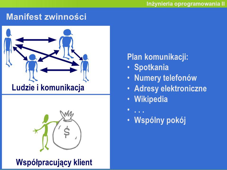 Inicjowanie projektu (19) Inżynieria oprogramowania II Manifest zwinności Plan komunikacji: Spotkania Numery telefonów Adresy elektroniczne Wikipedia...