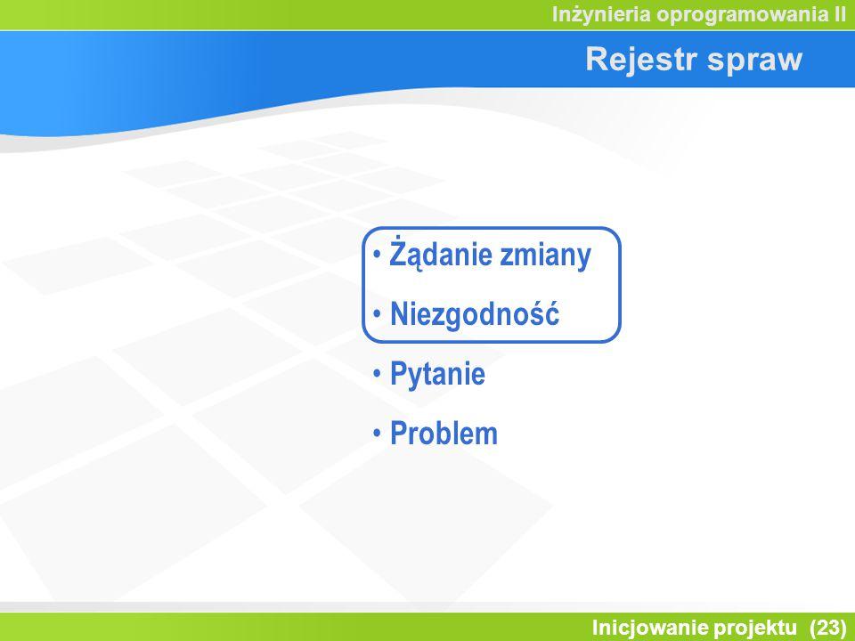 Inicjowanie projektu (23) Inżynieria oprogramowania II Rejestr spraw Żądanie zmiany Niezgodność Pytanie Problem