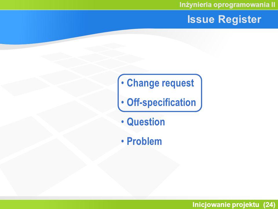 Inicjowanie projektu (24) Inżynieria oprogramowania II Issue Register Change request Off-specification Question Problem