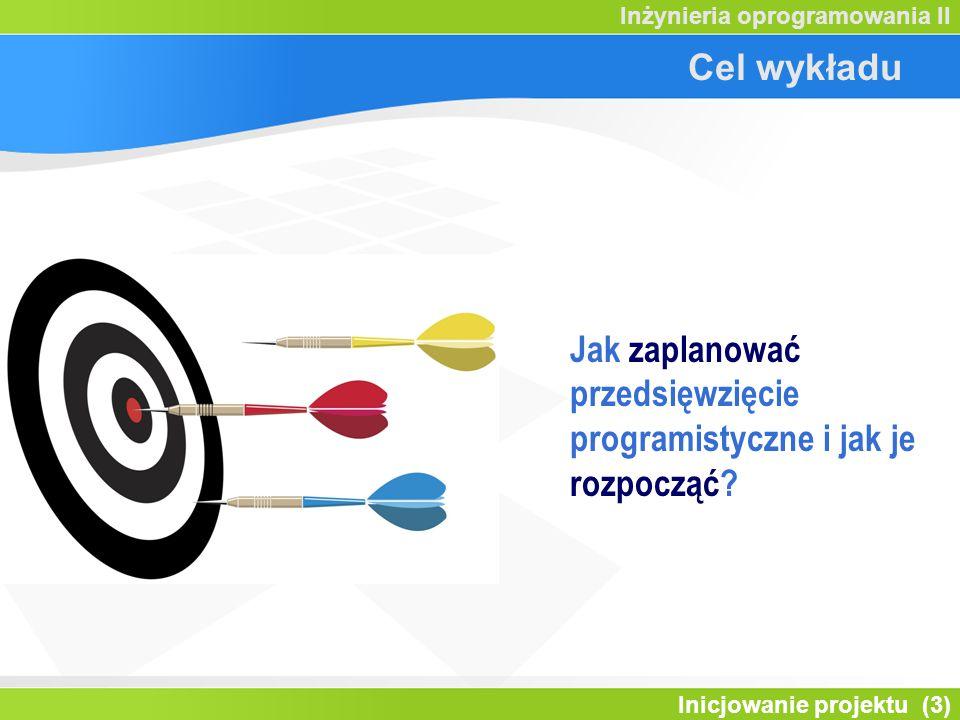 Inicjowanie projektu (3) Inżynieria oprogramowania II Cel wykładu Jak zaplanować przedsięwzięcie programistyczne i jak je rozpocząć?