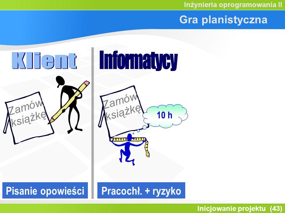 Inicjowanie projektu (43) Inżynieria oprogramowania II Gra planistyczna Pisanie opowieści Zamów książkę 10 h Pracochł.