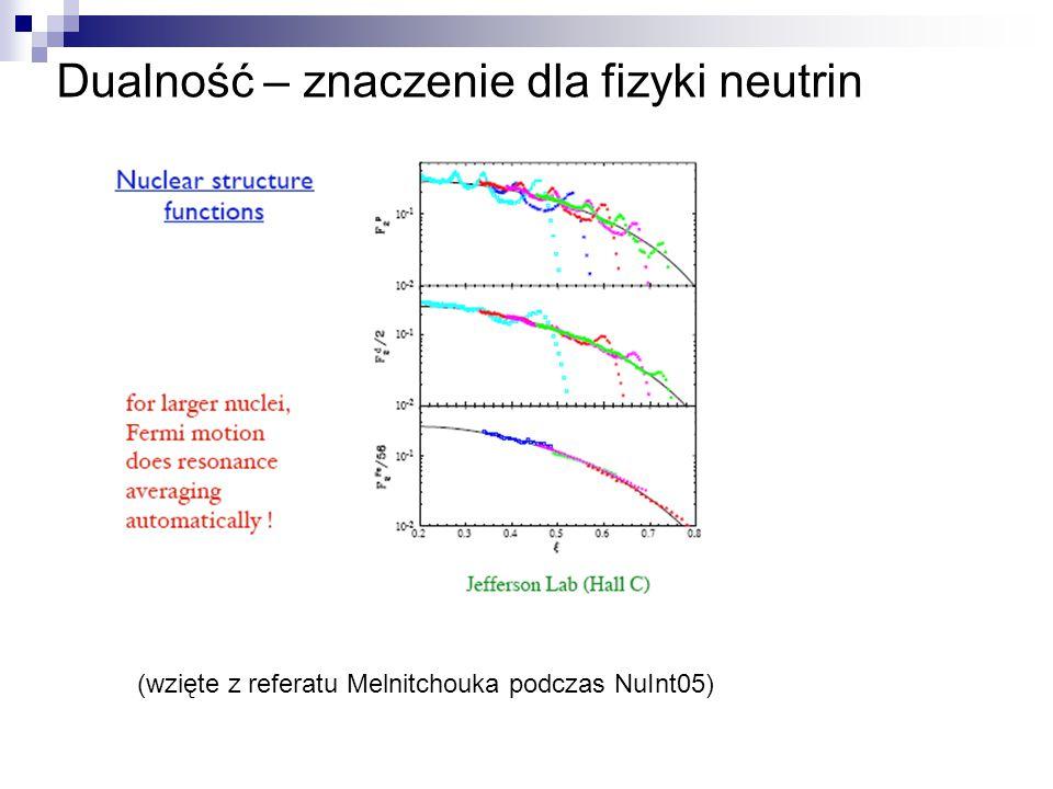 Dualność – znaczenie dla fizyki neutrin (wzięte z referatu Melnitchouka podczas NuInt05)