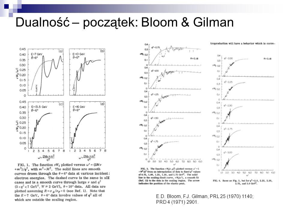 E.D. Bloom, F.J. Gilman, PRL 25 (1970) 1140; PRD 4 (1971) 2901. Dualność – początek: Bloom & Gilman