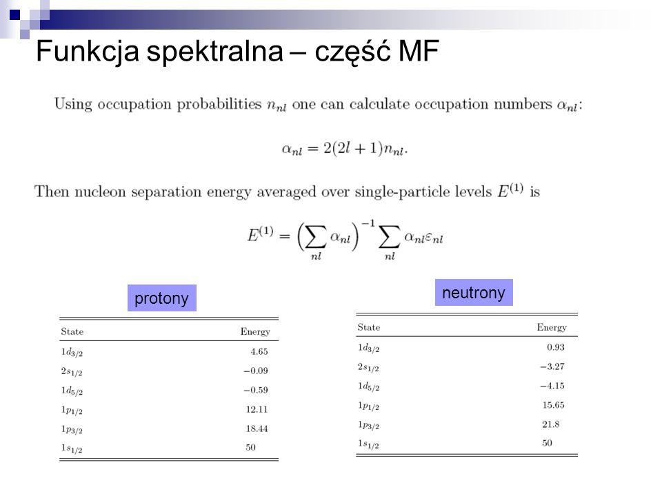 Funkcja spektralna – część MF protony neutrony