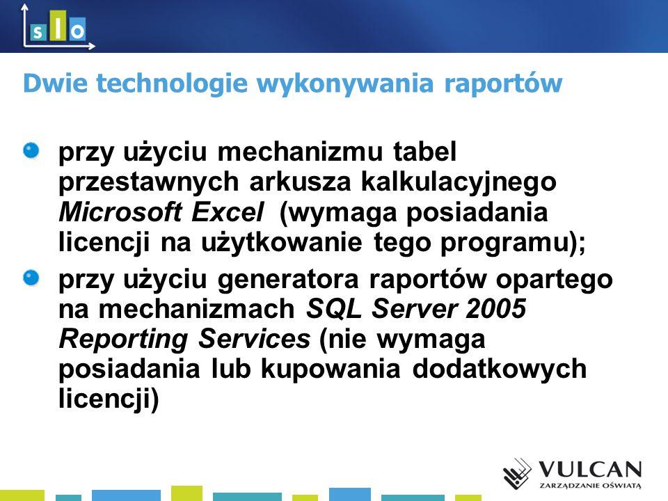 Dwie technologie wykonywania raportów przy użyciu mechanizmu tabel przestawnych arkusza kalkulacyjnego Microsoft Excel (wymaga posiadania licencji na użytkowanie tego programu); przy użyciu generatora raportów opartego na mechanizmach SQL Server 2005 Reporting Services (nie wymaga posiadania lub kupowania dodatkowych licencji)